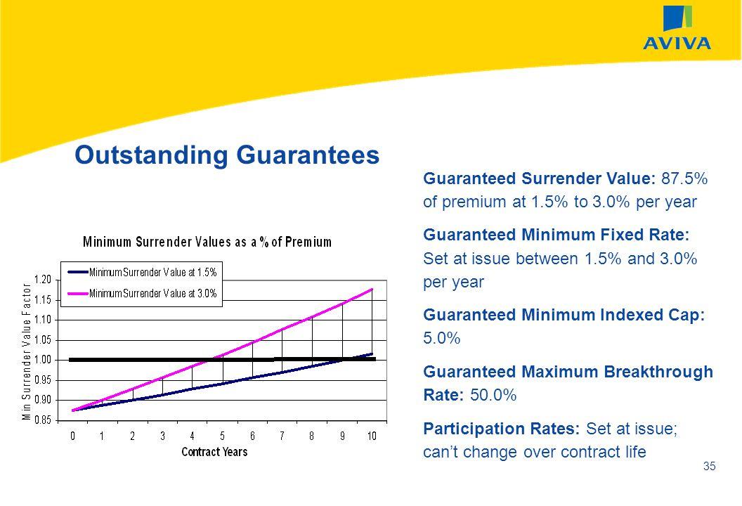 AVIVA SEPTEMBER 2002 35 Outstanding Guarantees Guaranteed Surrender Value: 87.5% of premium at 1.5% to 3.0% per year Guaranteed Minimum Fixed Rate: Se