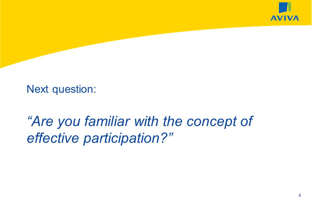 AVIVA SEPTEMBER 2002 4 Next question: Are you familiar with the concept of effective participation?