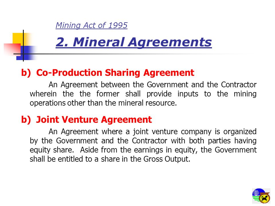 Mining Act of 1995 3.