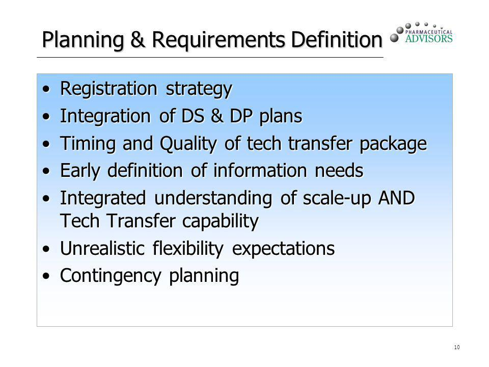 10 Planning & Requirements Definition Registration strategyRegistration strategy Integration of DS & DP plansIntegration of DS & DP plans Timing and Q