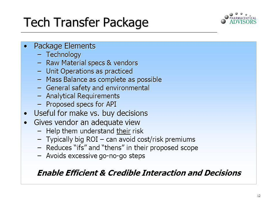 12 Tech Transfer Package Package ElementsPackage Elements –Technology –Raw Material specs & vendors –Unit Operations as practiced –Mass Balance as com