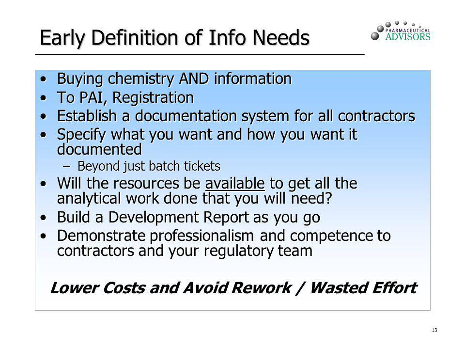 13 Early Definition of Info Needs Buying chemistry AND informationBuying chemistry AND information To PAI, RegistrationTo PAI, Registration Establish