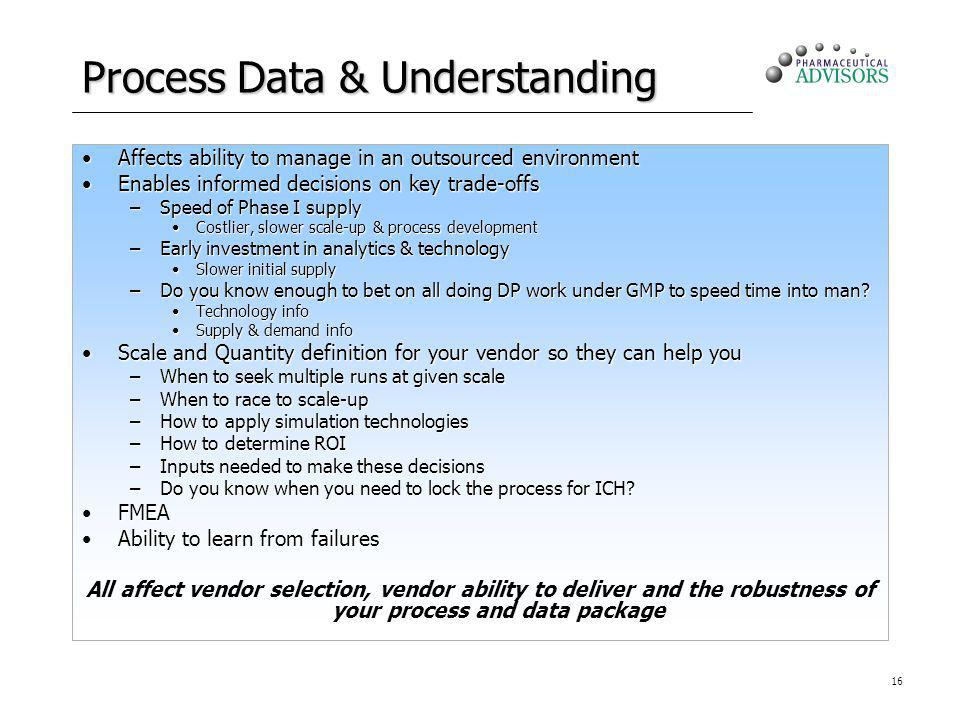 16 Process Data & Understanding Affects ability to manage in an outsourced environmentAffects ability to manage in an outsourced environment Enables i