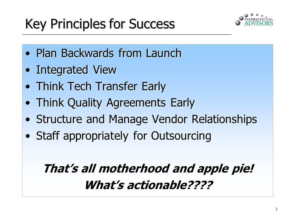 2 Key Principles for Success Plan Backwards from LaunchPlan Backwards from Launch Integrated ViewIntegrated View Think Tech Transfer EarlyThink Tech T