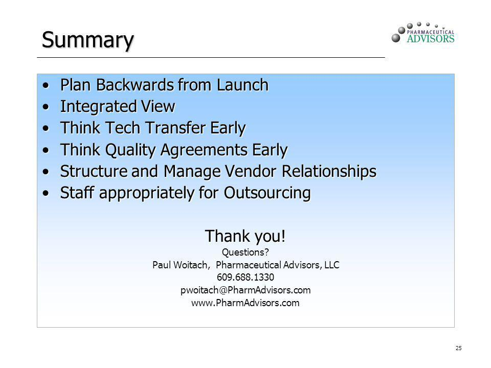 25 Summary Plan Backwards from LaunchPlan Backwards from Launch Integrated ViewIntegrated View Think Tech Transfer EarlyThink Tech Transfer Early Think Quality Agreements EarlyThink Quality Agreements Early Structure and Manage Vendor RelationshipsStructure and Manage Vendor Relationships Staff appropriately for OutsourcingStaff appropriately for Outsourcing Thank you.