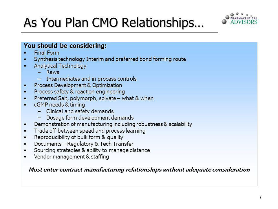 6 As You Plan CMO Relationships… You should be considering: Final FormFinal Form Synthesis technology Interim and preferred bond forming routeSynthesi