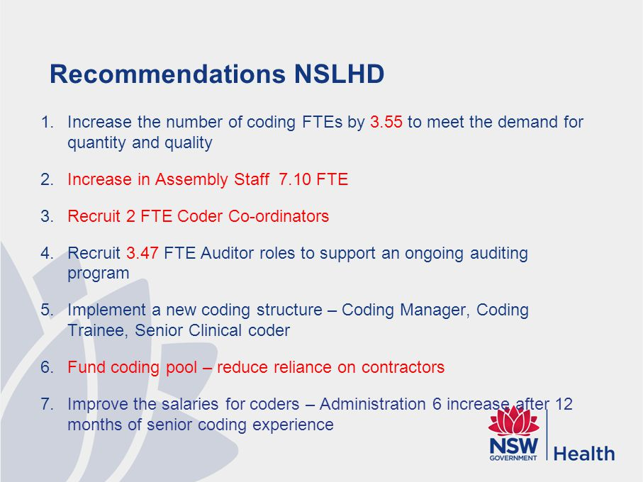Recommendations NSLHD 1.Increase the number of coding FTEs by 3.55 to meet the demand for quantity and quality 2.Increase in Assembly Staff 7.10 FTE 3.Recruit 2 FTE Coder Co-ordinators 4.Recruit 3.47 FTE Auditor roles to support an ongoing auditing program 5.Implement a new coding structure – Coding Manager, Coding Trainee, Senior Clinical coder 6.Fund coding pool – reduce reliance on contractors 7.Improve the salaries for coders – Administration 6 increase after 12 months of senior coding experience