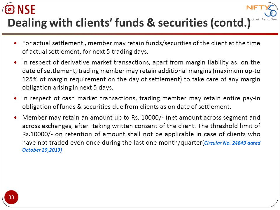For actual settlement, member may retain funds/securities of the client at the time of actual settlement, for next 5 trading days. In respect of deriv