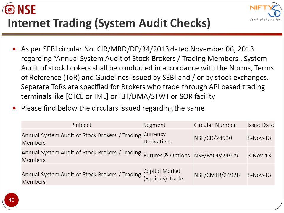 Internet Trading (System Audit Checks) As per SEBI circular No. CIR/MRD/DP/34/2013 dated November 06, 2013 regarding Annual System Audit of Stock Brok