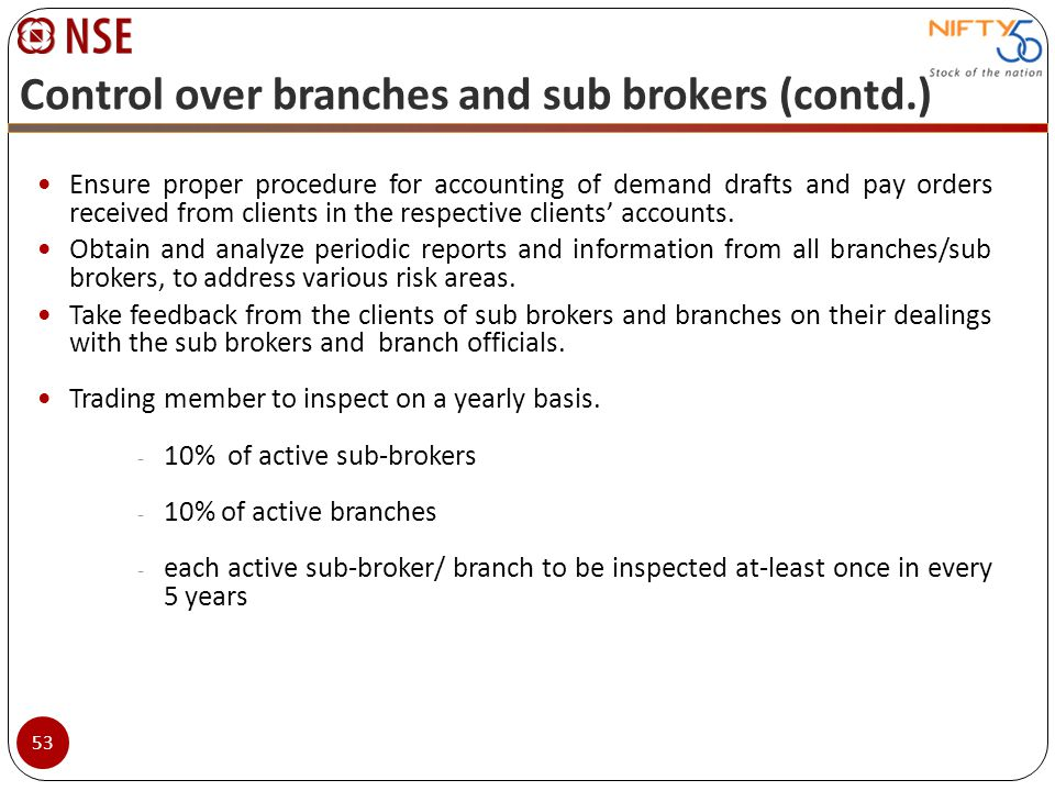 Control over branches and sub brokers (contd.) Ensure proper procedure for accounting of demand drafts and pay orders received from clients in the res