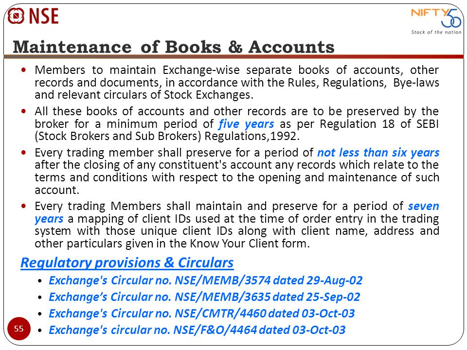Maintenance of Books & Accounts Members to maintain Exchange-wise separate books of accounts, other records and documents, in accordance with the Rule