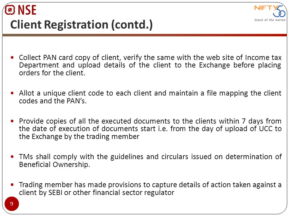 Continued membership requirements Trading Member should obtain prior permission of Exchange and SEBI before effecting any change in shareholding / sharing pattern or change in directors / partners.