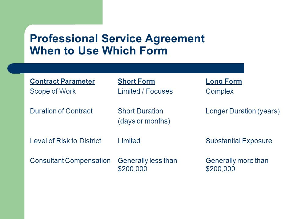Professional Service Agreement When to Use Which Form Contract ParameterShort FormLong Form Scope of WorkLimited / FocusesComplex Duration of ContractShort DurationLonger Duration (years) (days or months) Level of Risk to DistrictLimitedSubstantial Exposure Consultant CompensationGenerally less thanGenerally more than $200,000$200,000