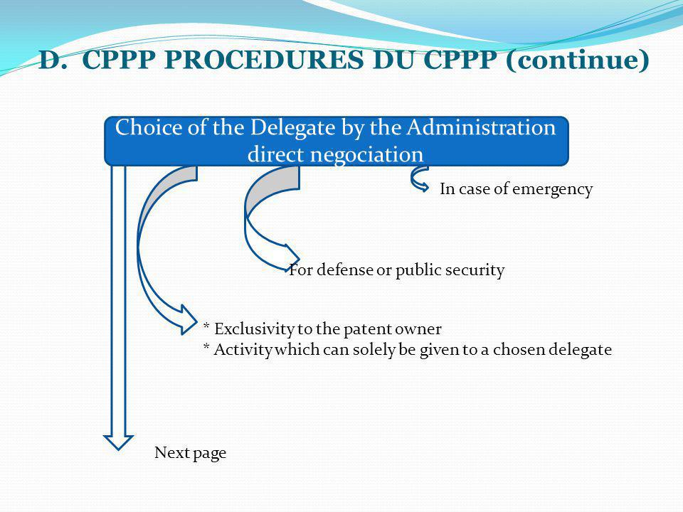 D. CPPP PROCEDURES DU CPPP (continue) Choice of the Delegate by the Administration direct negociation In case of emergency For defense or public secur