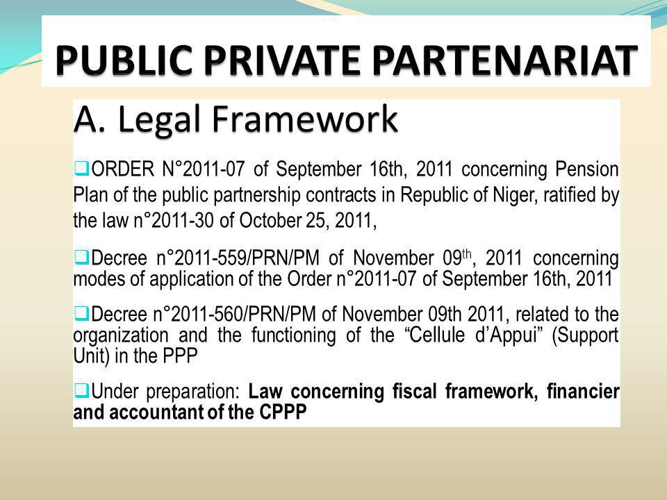 A. Legal Framework ORDER N°2011-07 of September 16th, 2011 concerning Pension Plan of the public partnership contracts in Republic of Niger, ratified