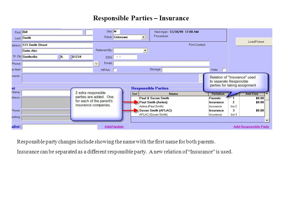 Responsible Parties – Insurance Responsible party changes include showing the name with the first name for both parents.