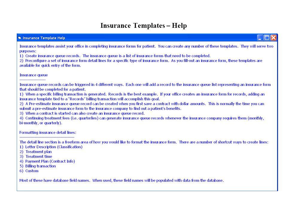 Insurance Templates – Help