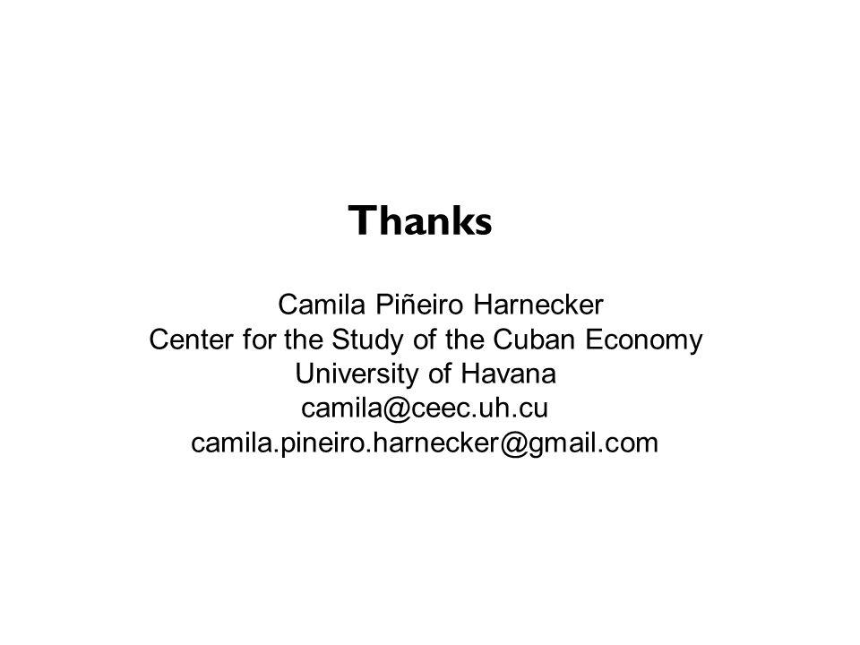 Camila Piñeiro Harnecker Center for the Study of the Cuban Economy University of Havana camila@ceec.uh.cu camila.pineiro.harnecker@gmail.com Thanks