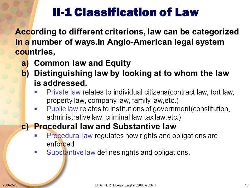 2006-2-20CHATPER 1,Legal English,2005-2006 II13 II-1 Classification of Law a)Common law and Equity b)Distinguishing law by looking at to whom the law is addressed.