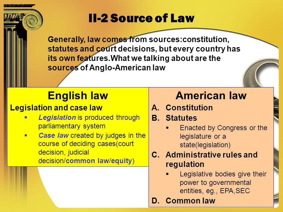 2006-2-20CHATPER 1,Legal English,2005-2006 II14 II-2 Source of Law Generally, law comes from sources:constitution, statutes and court decisions, but every country has its own features.What we talking about are the sources of Anglo-American law English law Legislation and case law Legislation is produced through parliamentary system Case law created by judges in the course of deciding cases(court decision, judicial decision/common law/equity) American law A.Constitution B.Statutes Enacted by Congress or the legislature or a state(legislation) C.Administrative rules and regulation Legislative bodies give their power to governmental entities, eg., EPA,SEC D.Common law