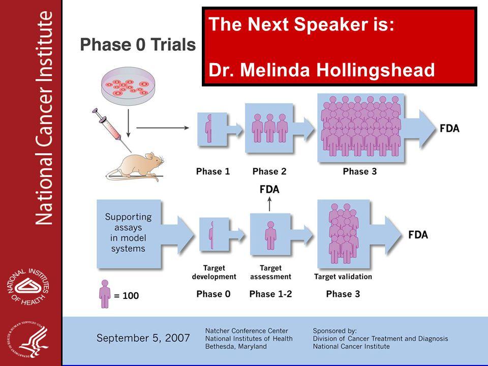 The Next Speaker is: Dr. Melinda Hollingshead