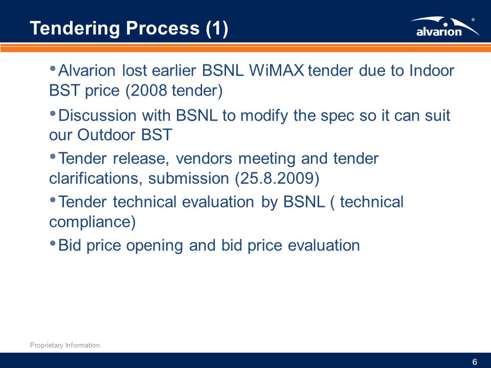 Proprietary Information. Tendering Process (1) Alvarion lost earlier BSNL WiMAX tender due to Indoor BST price (2008 tender) Discussion with BSNL to m