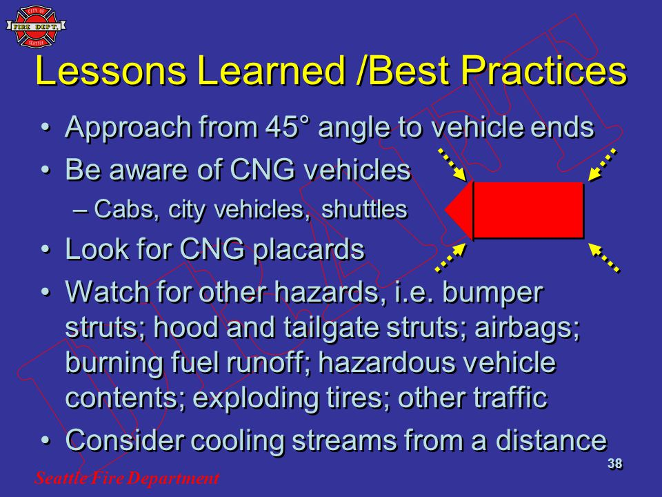 Seattle Fire Department 38 Lessons Learned /Best Practices Approach from 45° angle to vehicle ends Be aware of CNG vehicles –Cabs, city vehicles, shut
