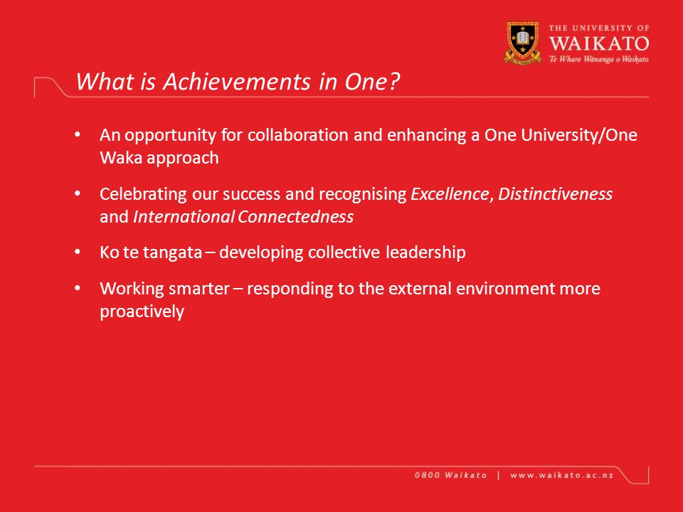 ACHIEVEMENTS IN ONE One Slide – One Minute Presentations Combined Chairs and Managers Leadership Forums 2011
