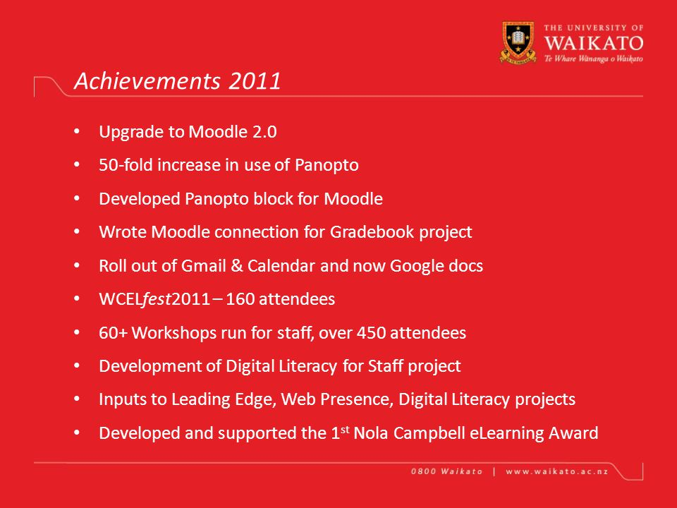 Waikato Centre for eLearning Nigel Robertson Achievements in One