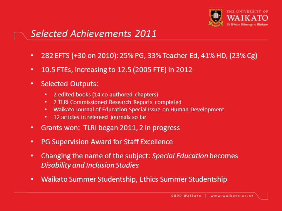 Department of Human Development and Counselling Wendy Drewery Achievements in One