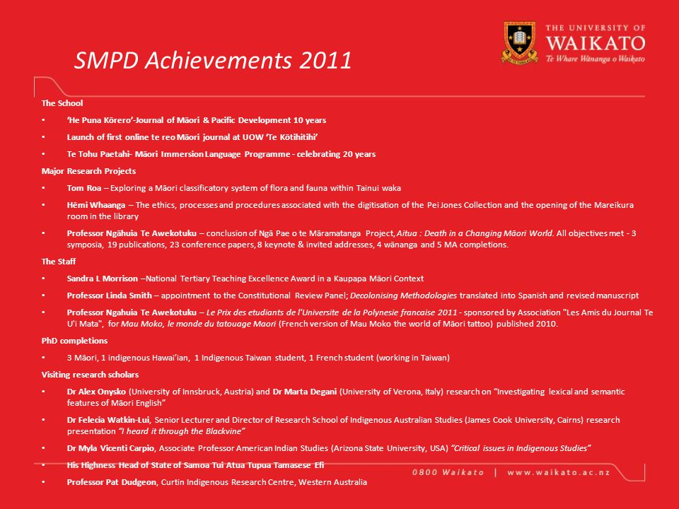 School of Māori and Pacific Development Achievements in One