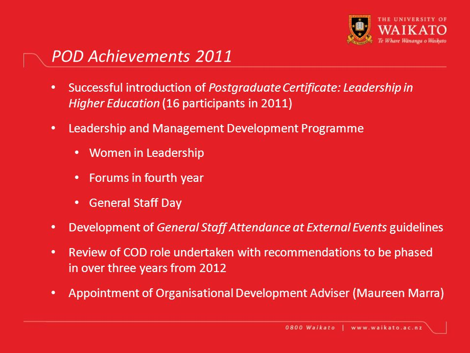 PROFESSIONAL AND ORGANISATIONAL DEVELOPMENT UNIT Mike Bell Achievements in One