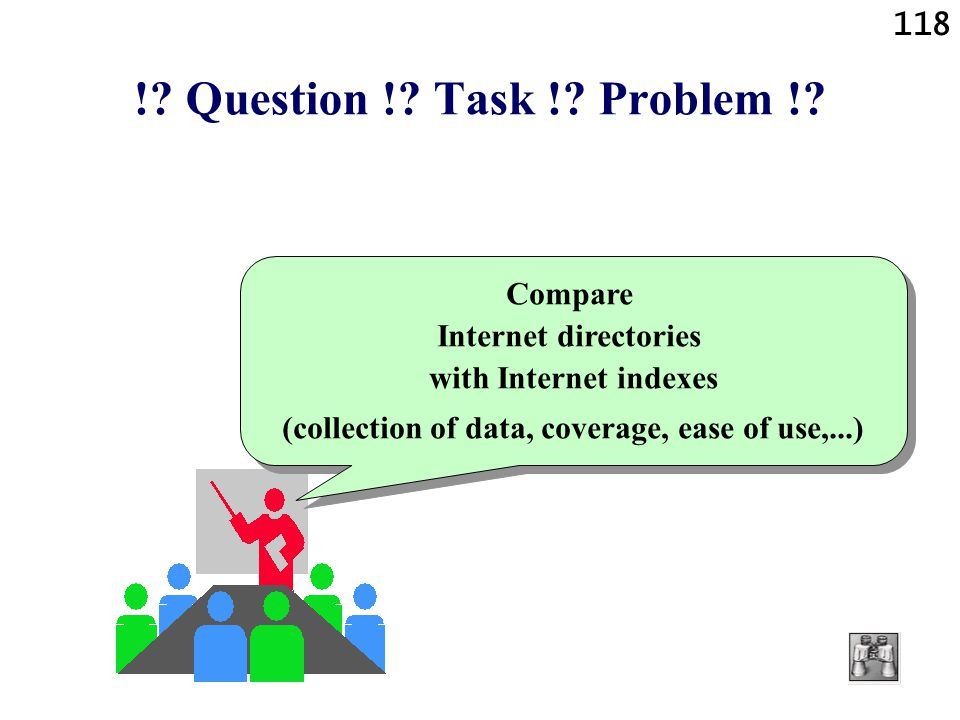 118 !? Question !? Task !? Problem !? Compare Internet directories with Internet indexes (collection of data, coverage, ease of use,...) Compare Inter