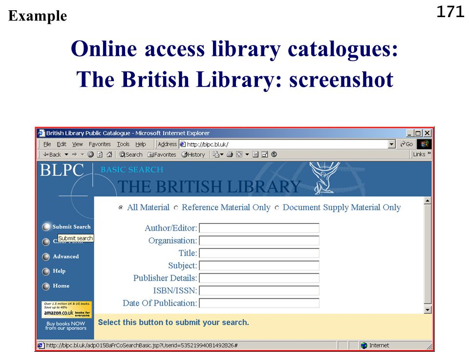 171 Online access library catalogues: The British Library: screenshot Example