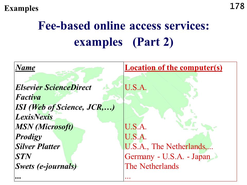 178 Fee-based online access services: examples (Part 2) Location of the computer(s) U.S.A. U.S.A. U.S.A., The Netherlands,... Germany - U.S.A. - Japan