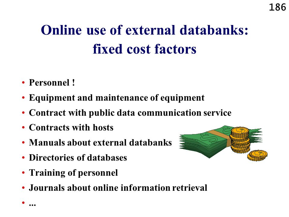 186 Online use of external databanks: fixed cost factors Personnel ! Equipment and maintenance of equipment Contract with public data communication se