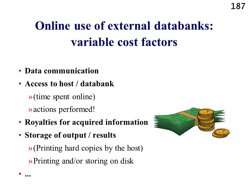 187 Online use of external databanks: variable cost factors Data communication Access to host / databank »(time spent online) »actions performed! Roya