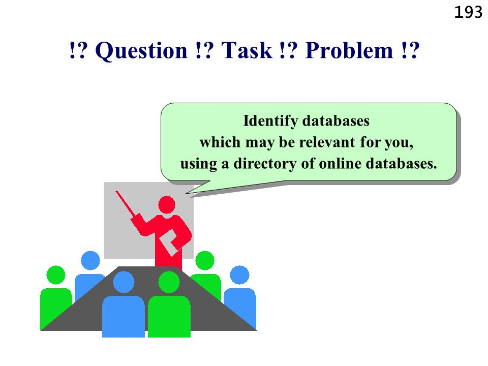 193 !? Question !? Task !? Problem !? Identify databases which may be relevant for you, using a directory of online databases.