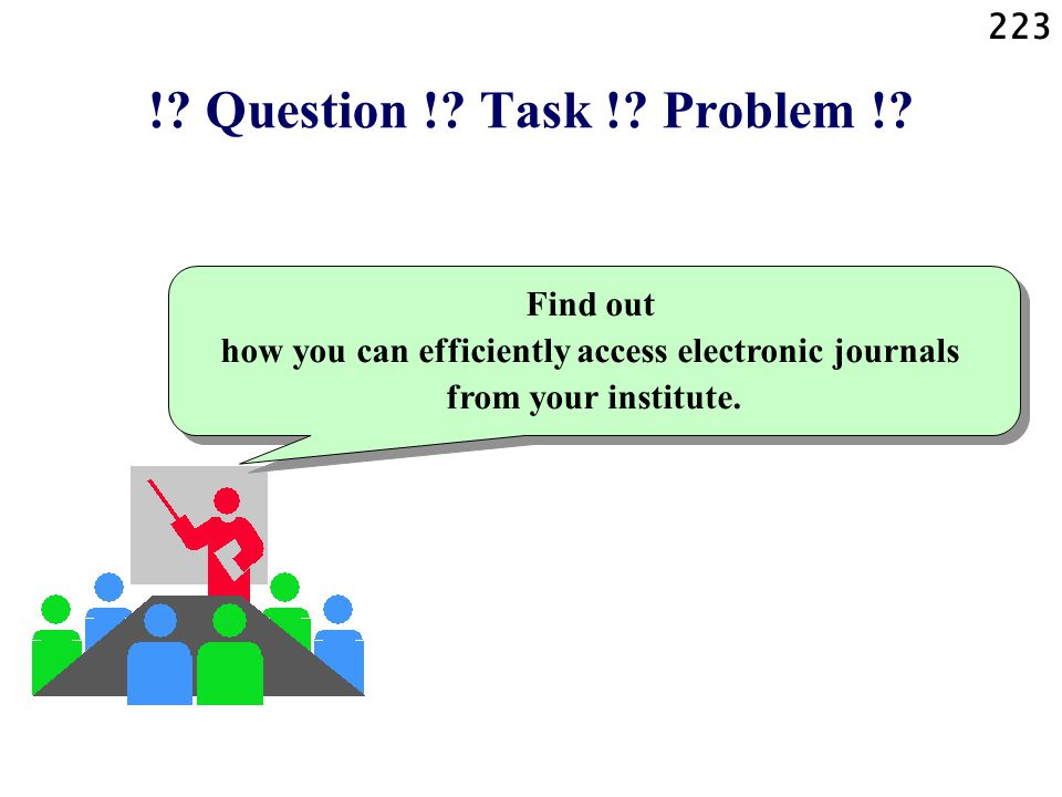 223 !? Question !? Task !? Problem !? Find out how you can efficiently access electronic journals from your institute.