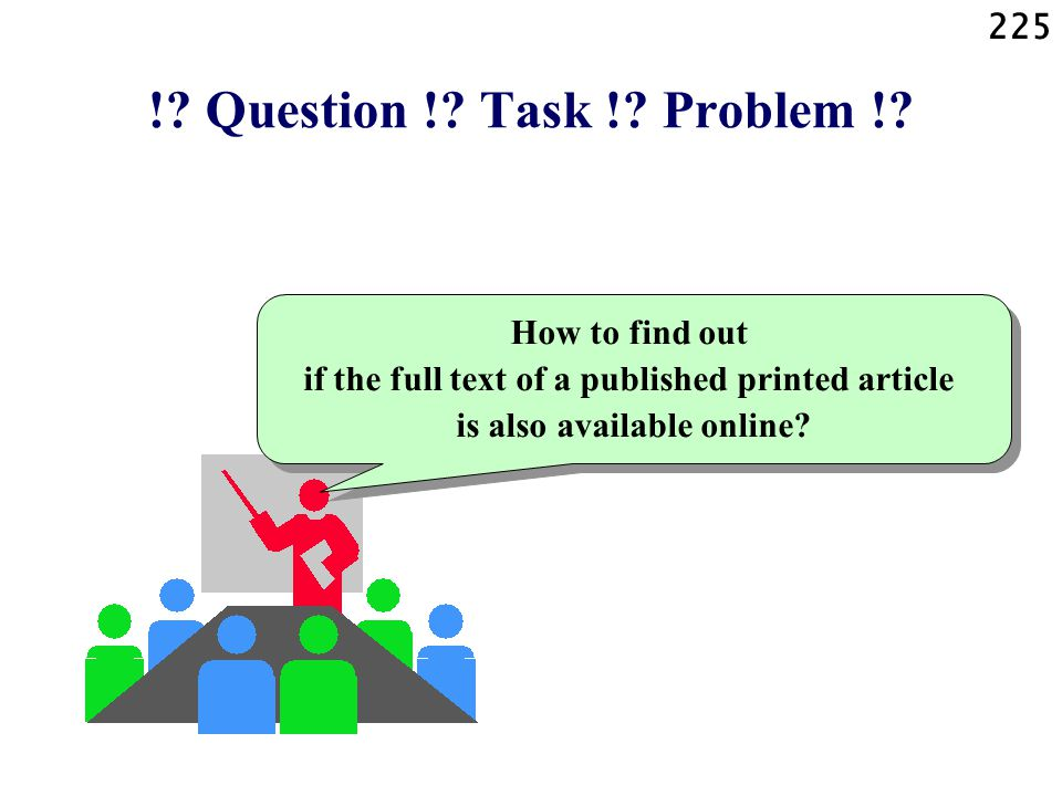 225 !? Question !? Task !? Problem !? How to find out if the full text of a published printed article is also available online?