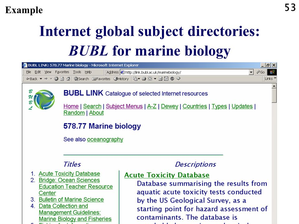 53 Internet global subject directories: BUBL for marine biology Example