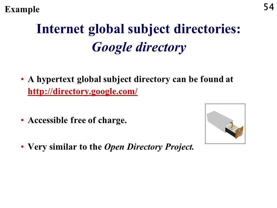 54 Internet global subject directories: Google directory A hypertext global subject directory can be found at http://directory.google.com/ http://dire