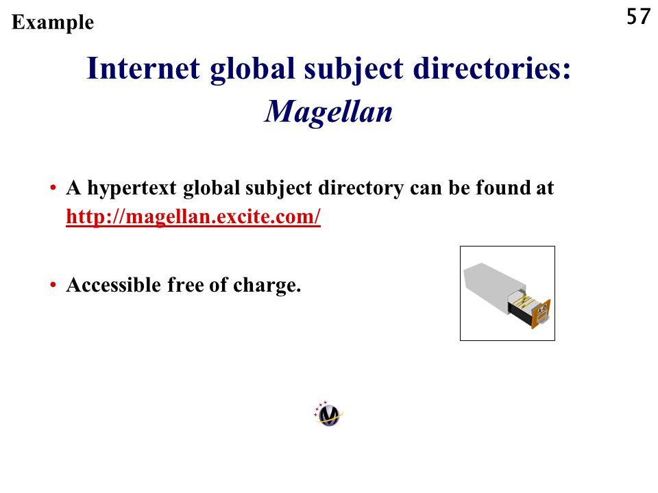 57 Internet global subject directories: Magellan A hypertext global subject directory can be found at http://magellan.excite.com/ http://magellan.exci