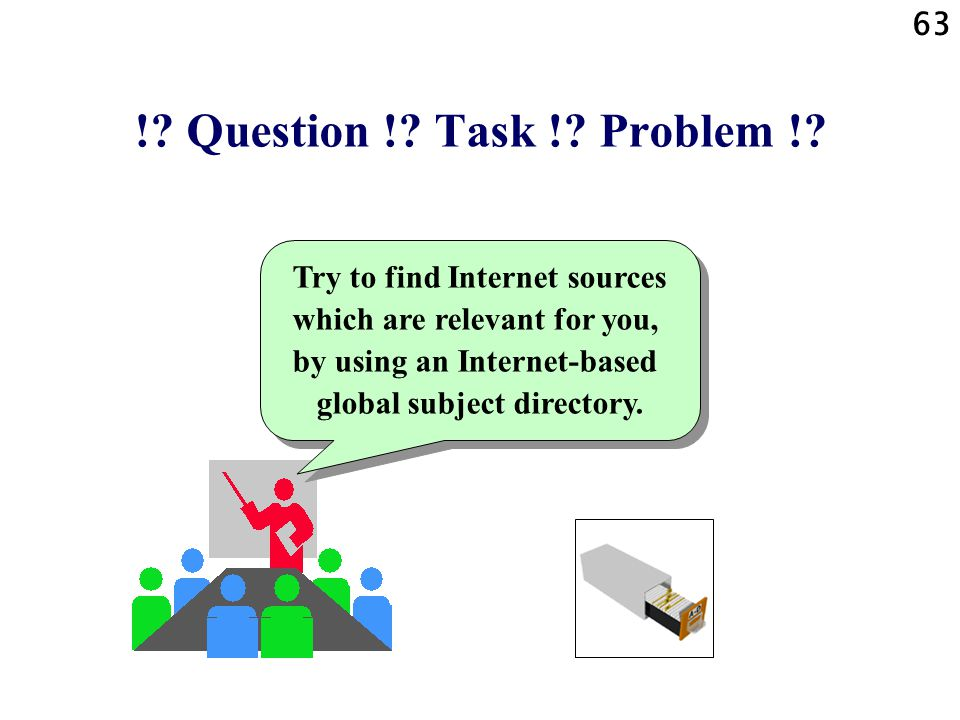 63 !? Question !? Task !? Problem !? Try to find Internet sources which are relevant for you, by using an Internet-based global subject directory.
