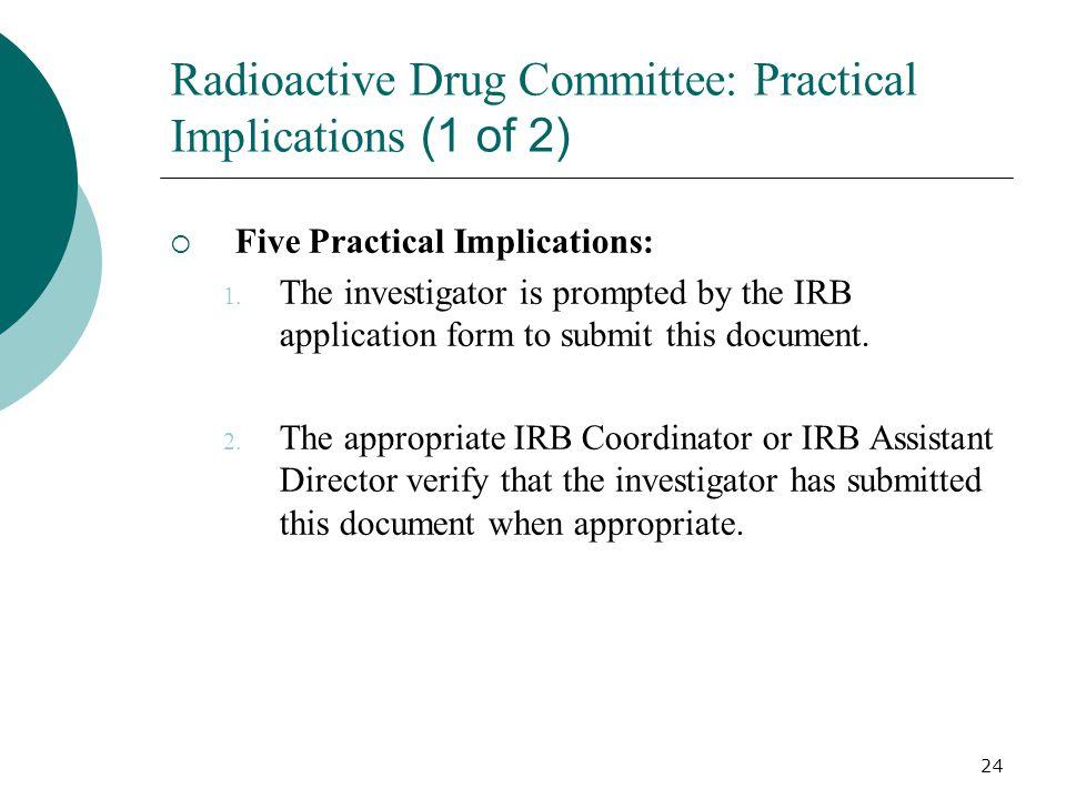 24 Radioactive Drug Committee: Practical Implications (1 of 2) Five Practical Implications: 1.