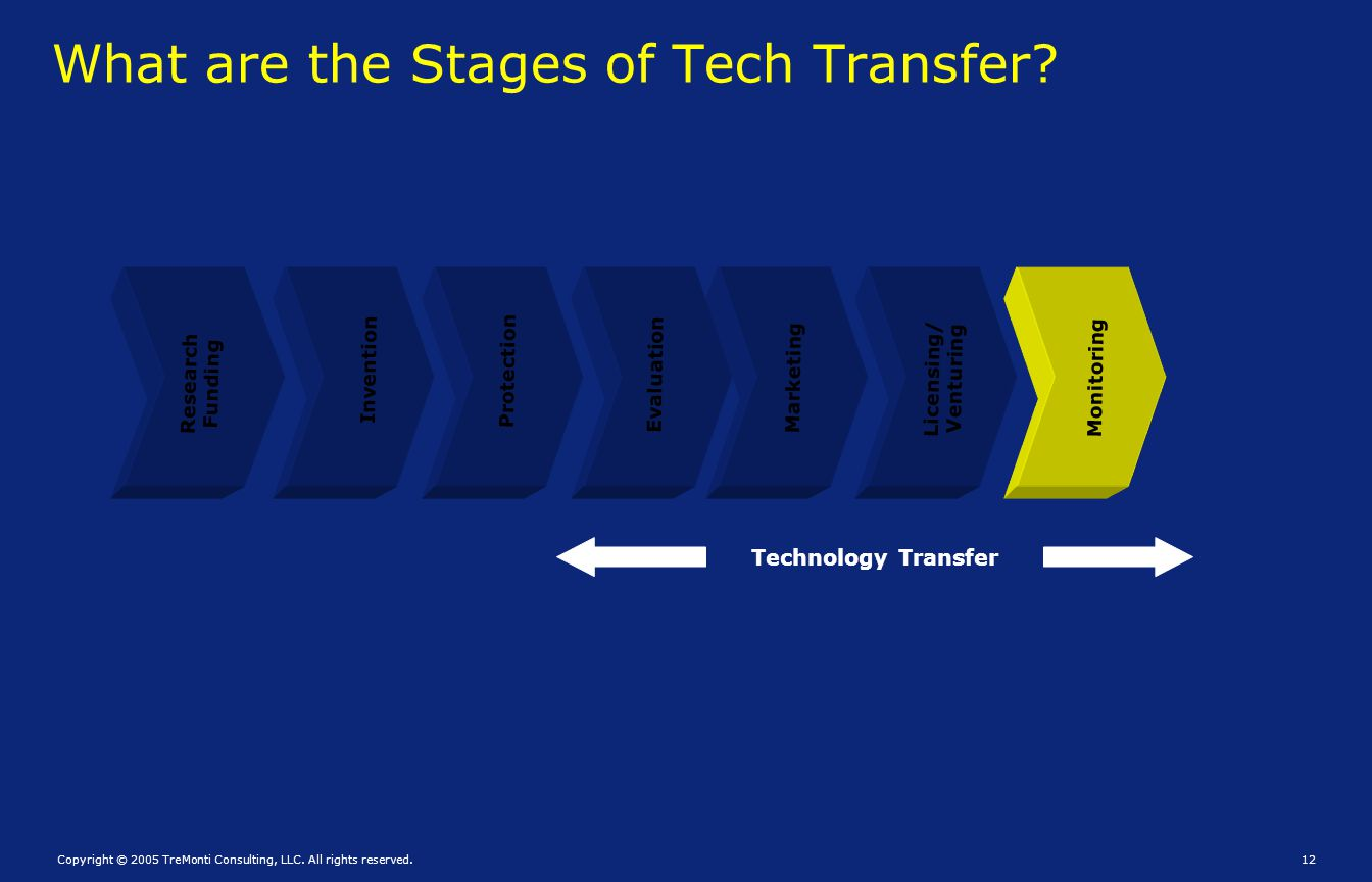 Copyright © 2005 TreMonti Consulting, LLC. All rights reserved.12 What are the Stages of Tech Transfer? Research Funding Invention Protection Evaluati