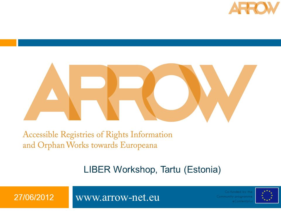 27/06/2012 Co-funded by the Community programme eContentplus   LIBER Workshop, Tartu (Estonia)