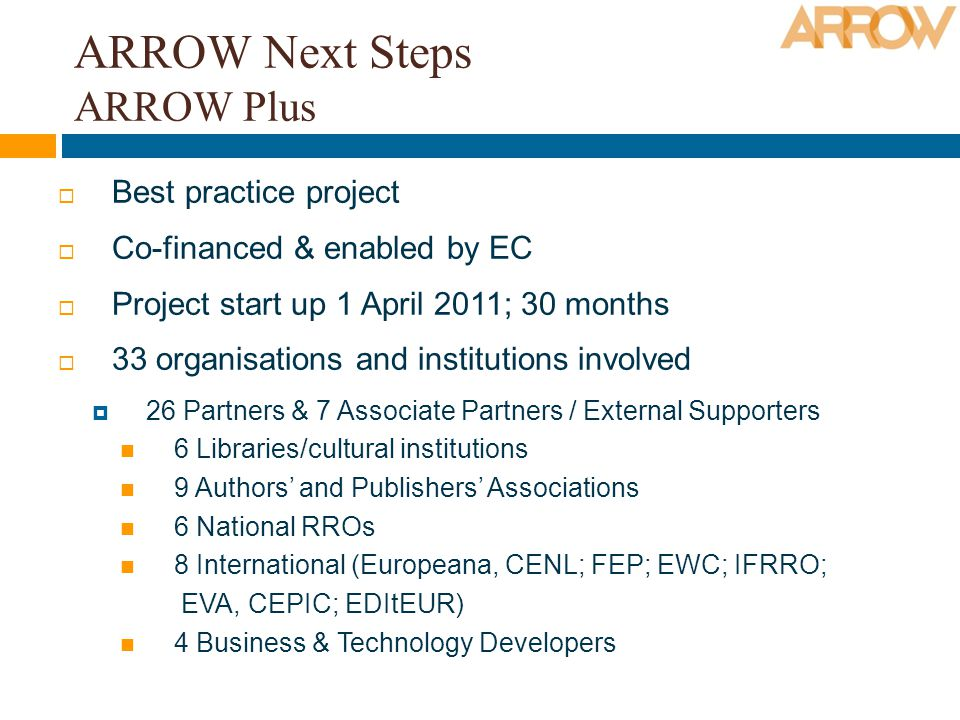 ARROW Next Steps ARROW Plus Best practice project Co-financed & enabled by EC Project start up 1 April 2011; 30 months 33 organisations and institutions involved 26 Partners & 7 Associate Partners / External Supporters 6 Libraries/cultural institutions 9 Authors and Publishers Associations 6 National RROs 8 International (Europeana, CENL; FEP; EWC; IFRRO; EVA, CEPIC; EDItEUR) 4 Business & Technology Developers