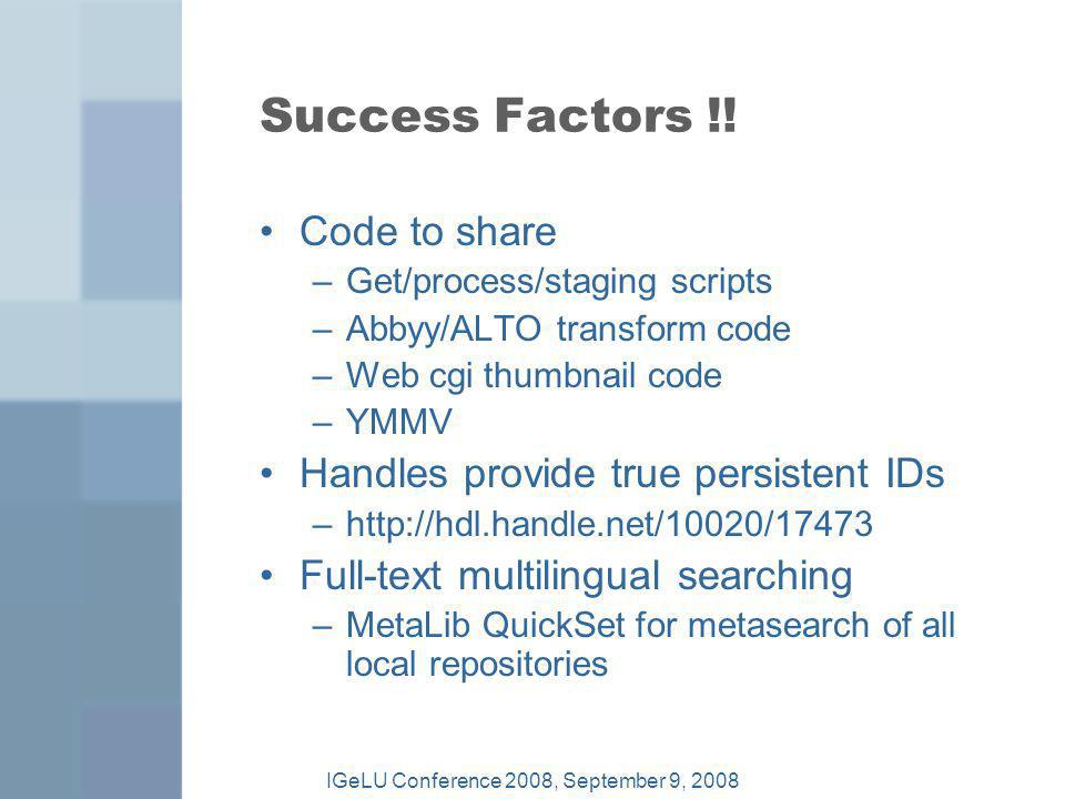 Success Factors !.