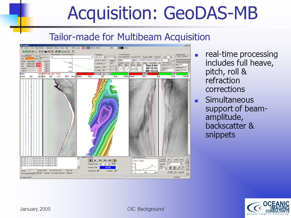 January, 2005 OIC Background Acquisition: GeoDAS-MB Tailor-made for Multibeam Acquisition real-time processing includes full heave, pitch, roll & refraction corrections Simultaneous support of beam- amplitude, backscatter & snippets